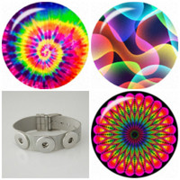 Stainless Steel 3 snap button Noosa style bracelet plus 3 psychedelic snaps. Fit Ginger snap & other snap charms