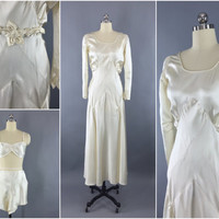 Vintage 1930s Wedding Dress, Slip & Lingerie Set / 1920s Wedding Gown / 30s Bias Cut / 20s Art Deco / Slipper Satin