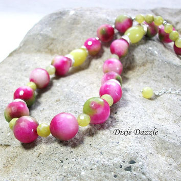 Unique gift idea, Candy Jade and green jade, bright, colorful necklace, free earrings, Gemstone necklace and earring set. Shop local TN