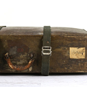 Vintage Suitcase, Military Shipping Suitcase-Large, Green Suitcase, Old Suitcase, Suitcase Luggage