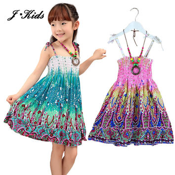 2-10 age 2015 New summer girls dresses Fashion Knee-length beach dresses for girls sleeveless bohemian children dresses girls