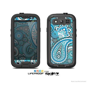 The Vibrant Blue and White Paisley Design  Skin For The Samsung Galaxy S3 LifeProof Case