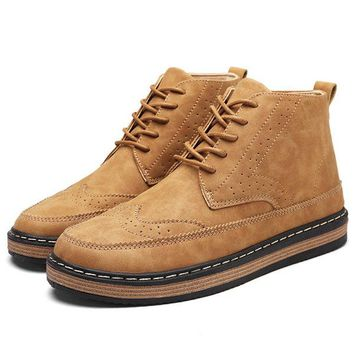 Men's Brogue Carved Microfiber Leather Ankle Boots