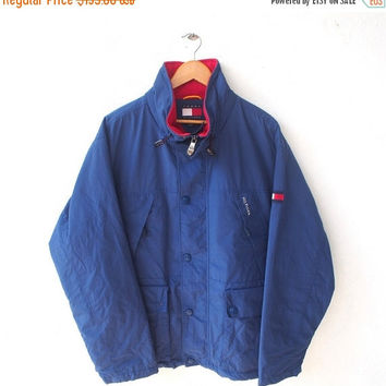 BIG SALE 25% Rare TOMMY Hilfiger Blue Color Vintage 90's Hip Hop Snowbeach Streetwear Hoodie Parka Bomber Jacket Coat L