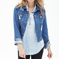 LOVE 21 Distressed Denim Jacket Medium Denim