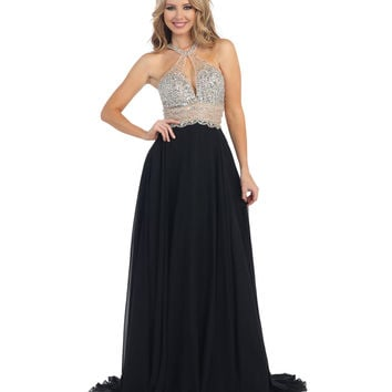 Black & Nude Beaded Halter Open Back Long Dress 2015 Homecoming Dresses