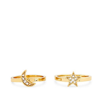 Pave Moon & Stars Delicate Ring Set | Accessorize It! | C. Wonder