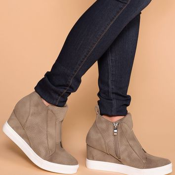 All Day Taupe Slip On Wedge Sneaker