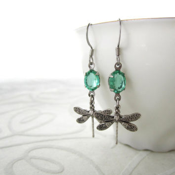 Dragonfly Earrings - Mint Green Glass - Lightweight Victorian Jewelry - Summer Fantasy