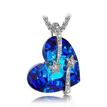 "LadyColour ""Venus"" Shooting Star Engraved Bermuda Blue Heart Necklace Made With Swarovski Crystals"