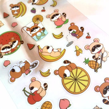 raccoon sticker raccoon fruit party cute animal rare animal cartoon animal sticker raccoon watermelon banana label kawaii animal sticker