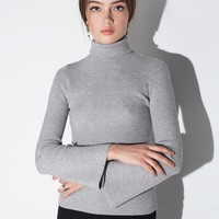 Grey Turtleneck Bell Sleeve Sweater