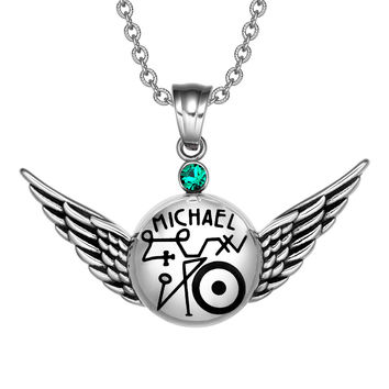 Magic Planetary Powers Archangel Michael Angel Wings Royal Green Crystal Amulet Pendant 22 inch Necklace