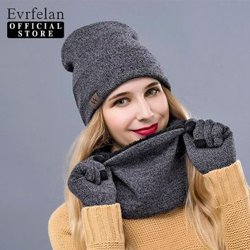 Evrfelan Winter Warm Hat Beanie Thick Infinity Scarf Smart Touch Screen Texting Gloves Set Skullies Beanies Hat Scarf&Gloves