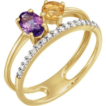 14K Yellow Gold Amethyst, Citrine & 1/8 CTW Diamond Ring