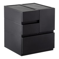Black Opaque Modular Stackable Drawers
