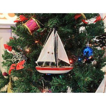 Wooden USA Sailboat Model Christmas Tree Ornament 9""