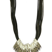 NECKLACE / MULTI STRAND / METAL RING / TEXTURED METAL / FAUX RUBBER CORD / 18 INCH LONG / 1 1/4 INCH DROP / NICKEL AND LEAD COMPLIANT