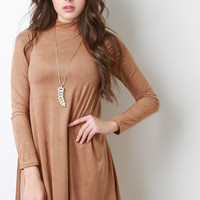 Long Sleeve Mock Suede Shift Dress