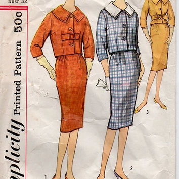 Mad Men Style Fashion Casual Business Suit Simplicity 60s Sewing Pattern Bust 32 Slim Skirt Bolero Jacket