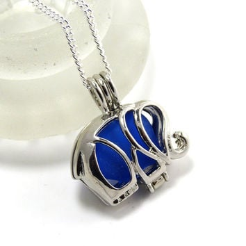 Elephant Charm Cobalt Blue Sea Glass Locket Necklace