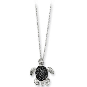 Sterling Silver Black White Cubic Zirconia Turtle Necklace by Cheryl M
