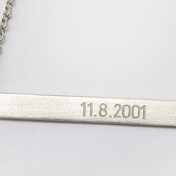 WEDDING DATE SILVER bar Roman Numeral Personalized necklace Nameplate Engraved Horizontal Silver Bar Initial Monogram name necklace sterling