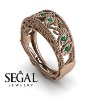 Unique Engagement Ring 14K Red Gold Vintage Art Deco Edwardian Ring Filigree Ring Green Emerald With Ruby - Gianna