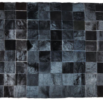 Cowhide Patchwork Rug - Premium Quality - 100% Natural - Black Squares