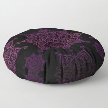 Violet Mandalas On Black Floor Pillow by inspiredimages