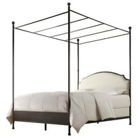 King Size Metal Canopy Bed with White Cream Linen Upholstered Headboard