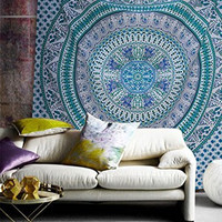 Popular Handicrafts Peacock Mandala Hippie Mandala Bohemian Psychedelic Intricate Floral Design Indian Bedspread Magical Thinking Tapestry 84x90 Inches,(215x230cms) Blue Turquish