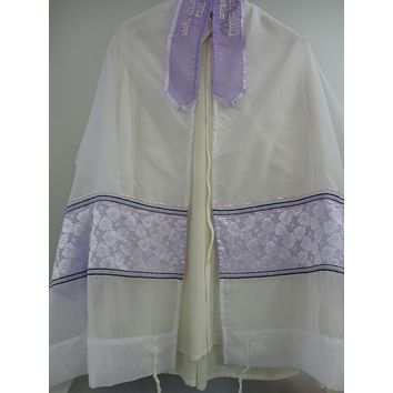 Cream Colored Floral Women's Tallit, Bat Mitzvah Tallit