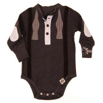 Bow Tie Suspenders Long Sleeve Henley Bodysuit by: Mini Shatsu