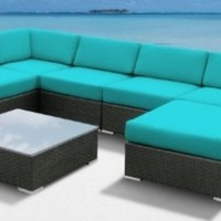 Luxxella Outdoor Patio Wicker MALLINA Sofa Sectional Furniture 7pc All Weather Couch Set TURQUOISE:Amazon:Patio, Lawn & Garden