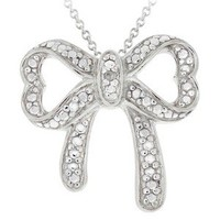 Sterling Silver Diamond Accent Bow Necklace - 18""