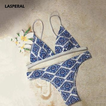 LASPERAL 2017 Brand Sexy Two Piece Bikinis Set New Floral Printed Padded Wireless Women Swimwear Swimsuit Maillot De Bain Femme