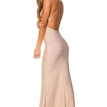 Heaven Nude Blush and Gold Metallic Strappy Backless Maxi Gown