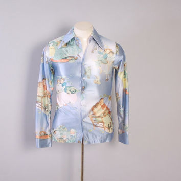 Vintage 70s Men's Disco SHIRT / 1970s Shiny Pointed Collar Novelty Norman Rockwell Print Kennington Shirt S