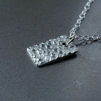 Silver Pendant with chain, fine silver tiny pendant, unique design