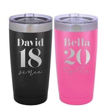 Personalized Tumbler Set for Couples, 20 oz. & 30 Oz. w/Lid and Handle - His and Her Tumbler Set Travel Mug Tumbler, Engraved Cup #4