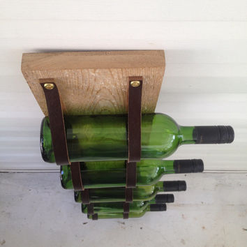 Wood & Leather Wine Rack reclaimed wood and recycled leather 5 Bottle wall bottle holder LWR57