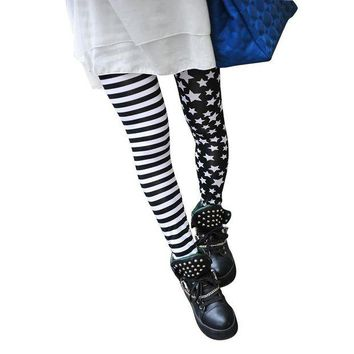 LMFON TFGS Woman Leggings Black with Stripes and Stars Pattern White Fashionable