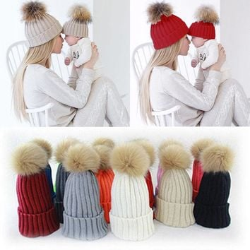Girl's Hats Girl's Accessories Kind-Hearted 2 Pcs Mother Kids Child Baby Warm Winter Knit Beanie Fur Pom Hat Crochet Ski Cap Cute 5 Colors