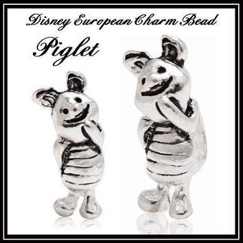 Stamped 925 - DiSNEY - PiGLET - PiG - WINNiE the POOH Character - Threaded Charm Bead - fits EURoPEAN Bracelets - MS