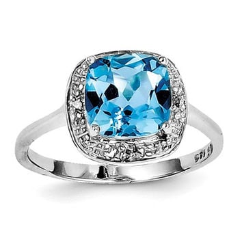 Sterling Silver 8mm Cushion Swiss Blue Topaz & Diamond Halo-Style Ring