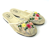 Vintage Beaded Slippers Mesh Women's Slippers Retro Bedroom Lounge Wear Flower Beads Burlesque Size 9