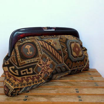 Kilim Clutch Bag in Brown Beige Green, Lucite Frame Purse, Needlepoint Handbag, Tapestry Pouch, Tribal Toiletry Case, Bohemian Gypsy Bag