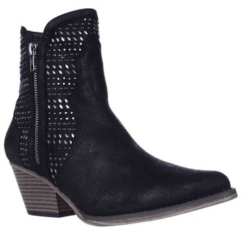 MIA Joaquin Jewel Studded Western Ankle Booties, Black, 7 US