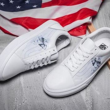 DCCKBWS VANS Old Skool Statue of Liberty Leather Sneakers Sport Shoes